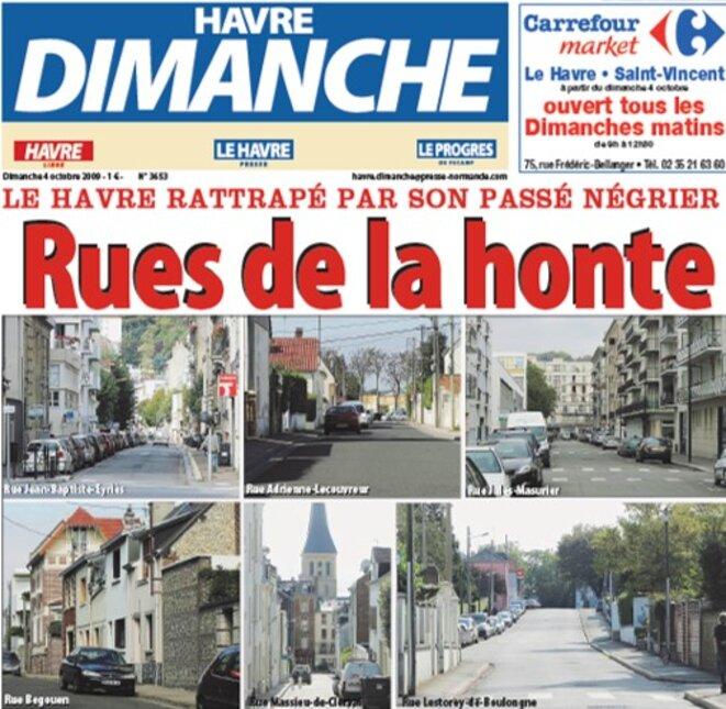 Une du Havre Dimanche sur les rues de négriers, 4 octobre 2009