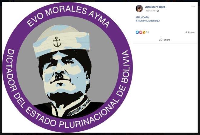 Un visuel assimilant Evo Morales à Hitler, posté sur les réseaux sociaux par Jhanisse Vaca Daza.