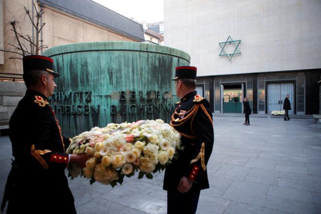 Dans la cour du Mémorial de la Shoah, en février 2019. © Reuters