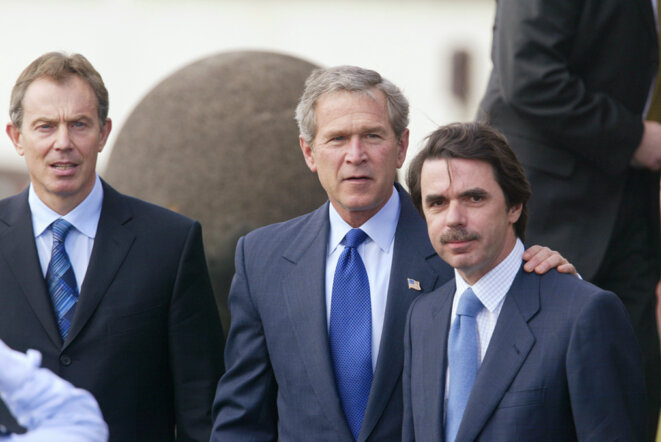 "Blair, Bush, Aznar : la ""photo des Açores"", le 16 mars 2003. © Reuters"