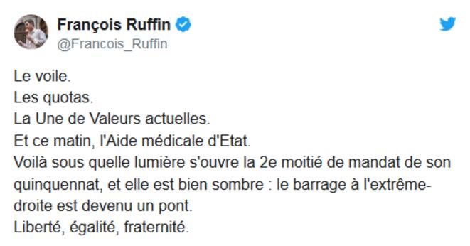 Résumé (a posteriori) de la séquence ouverte par l'exécutif le 16 septembre au soir. © Compte twitter @Francois_Ruffin (7.11.19)