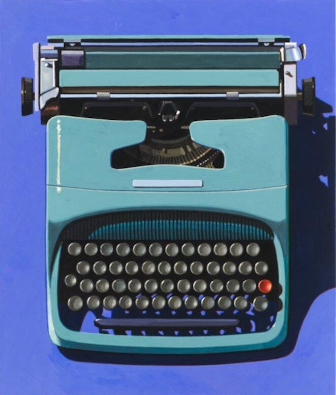 """Robert Cottingham, """"Andre's Olivetti"""", gouache sur papier, 58 x 50;5 cm, 2008, Exposition """"Robert Cottingham. Fictions in the space between, Galerie Georges-Philippe & Nathalie Valois, Paris 2019 © Robert cottingham"""