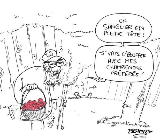 Le tragique accident de chasse du 15 novembre 2019, ayant coûté la vie à un promeneur retraité en forêt, illustré par le dessinateur Bramley. © Bramley