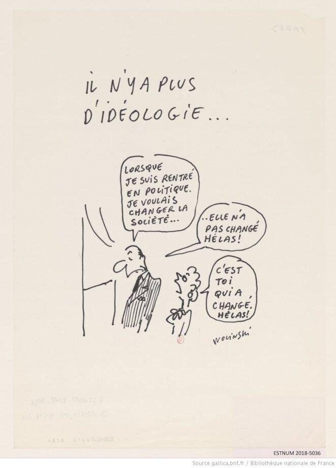 "Georges Wolinski, ""Il n'y a plus d'idéologie"", dessin de presse, 1990-1995. Source: www.gallica.bnf.fr. © Georges Wolinski (1934-2015)."