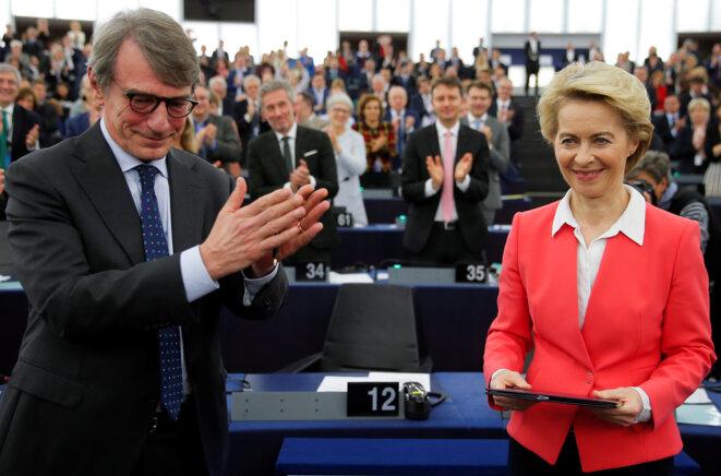 Ursula von der Leyen le 27 novembre 2019 à Strasbourg, aux côtés du président du parlement David Sassoli © Reuters / Vincent Kessler.