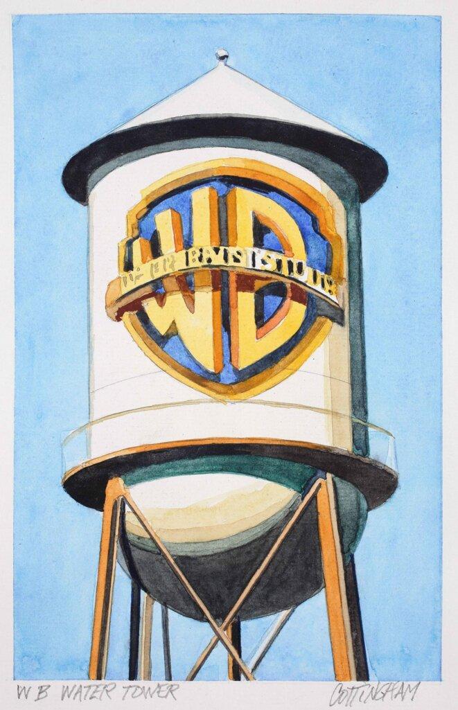 """Robert Cottingham, """"WB Water tank"""", Aquarelle sur papier, 40 x 28,5 cm, 2017, Exposition """"Robert Gottingham. Fictions in the space between"""", Galerie  Georges-Philippe & Nathalie Vallois, Paris, 2019. © Robert Cottingham"""