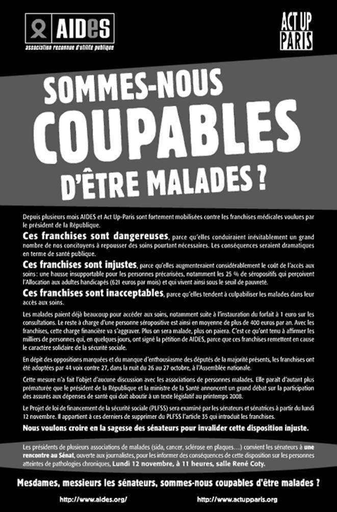 Tribune de Aides et Act Up-Paris contre l'impôt sur la maladie, 2007
