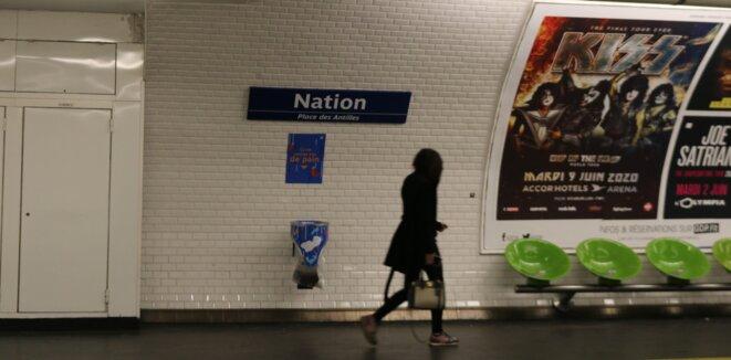 Station de métro Nation, ligne 9. Paris. © Mélodie Vidalain