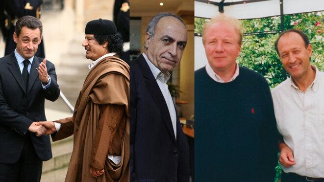 Nicolas Sarkozy, Mouammar Kadhafi, Ziad Takieddine, Brice Hortefeux et Thierry Gaubert. © Reuters/Document Mediapart