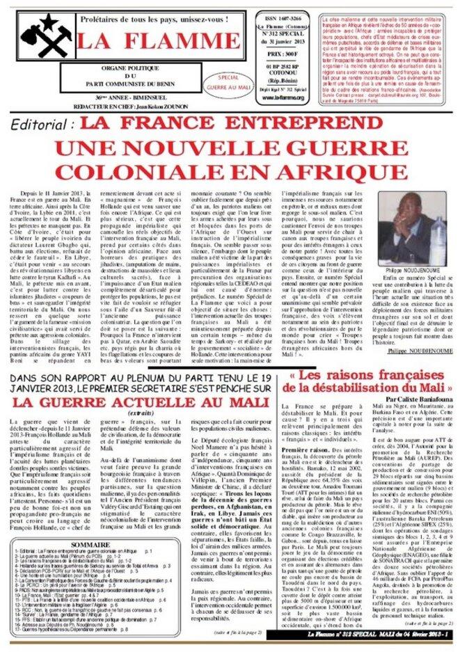 La Flamme organe central de presse du Parti communiste du Bénin