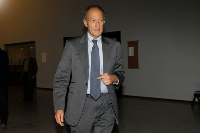 """Thierry Gaubert au tribunal de Nanterre, en 2012, dans le cadre du procès de l'affaire dite du """"1% logement"""". © Reuters"""