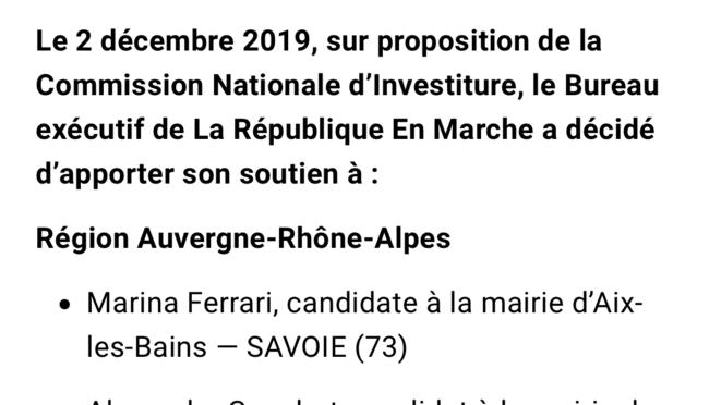 extrait du communiqué de presse En Marche du 2 décembre 2019 © EM !