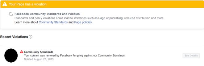 AVANT. «Votre page est en infraction» © Mediapart/CAMé
