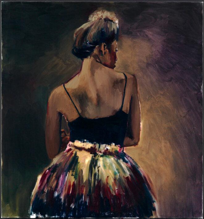 Lynette Yiadom-Boakye, Switcher, 2013, huile sur toile, 150 x 140 cm, Biennale de Venise 2019. © Lynette Yiadom-Boakye