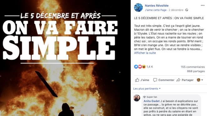Mercredi en fin de matinée, la publication du texte «Le 5 décembre et après...» par Nantes révoltée compte près de 900 partages. © Capture d'écran Facebook