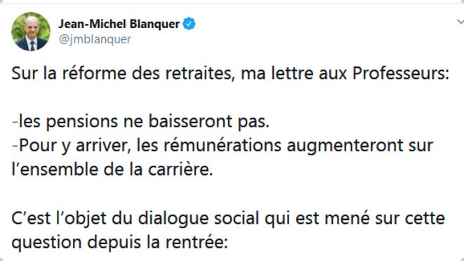 Tweet Jean-Michel Blanquer- 4 Décembre 2019
