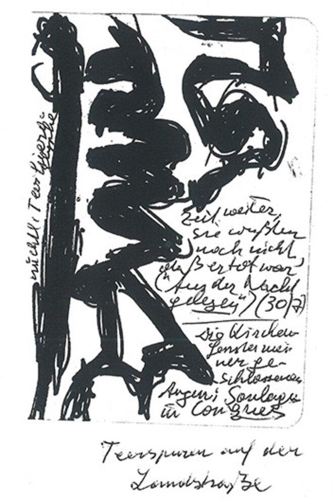 """dessin de Peter Handke. """"Les méandres noirs du bitume sur la route ici, il les voit comme une partition de musique"""""""