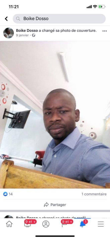 Boike Dosso, militant du parti du despote Ouattara, auteur de menaces de mort par égorgement contre le Professeur Franklin Nyamsi le 7 décembre 2019