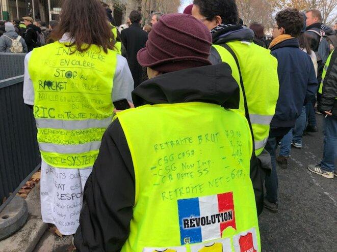 Dans la manifestation des gilets jaunes à Paris le 7 décembre 2019 (JL).