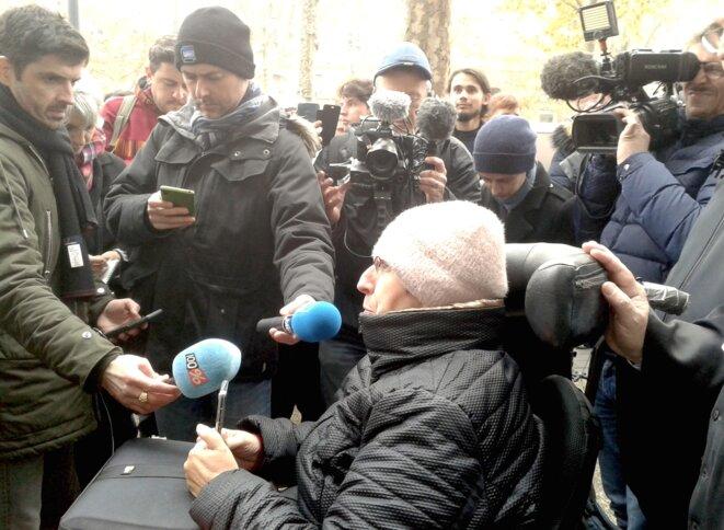 Odile Maurin face aux journalistes à l'issue de l'audience au tribunal de Toulouse, le 6 décembre 2019. © MR