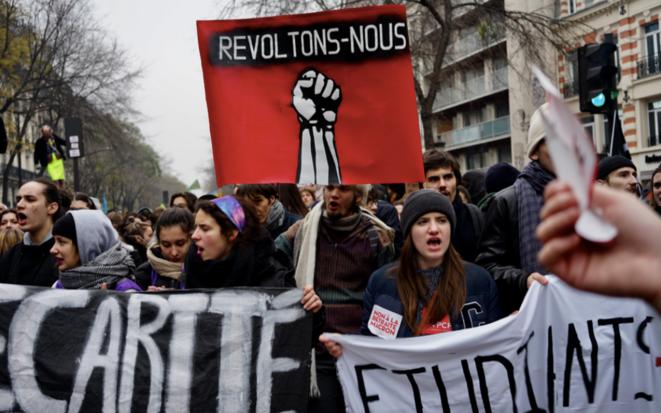 Paris, manifestation contre le projet de réforme des retraites, le 5 décembre 2019. © Rachida El Azzouzi