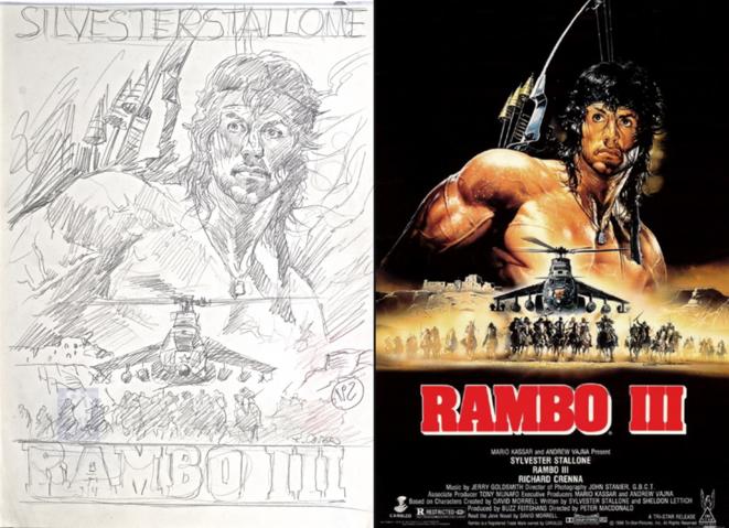 """Esquisse (à gauche) de """"Rambo"""" de Renato Casaro (archive personnelle). © Renato Casaro"""