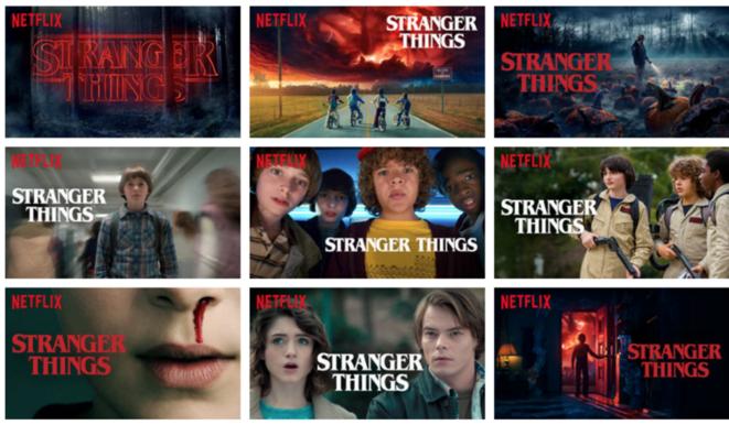 """Pour marquer la sortie de ses principales créations originales, comme la dernière saison de """"Stranger Things"""", Netflix a mis au point une galerie de vignettes correspondant chacune à un certain public."""