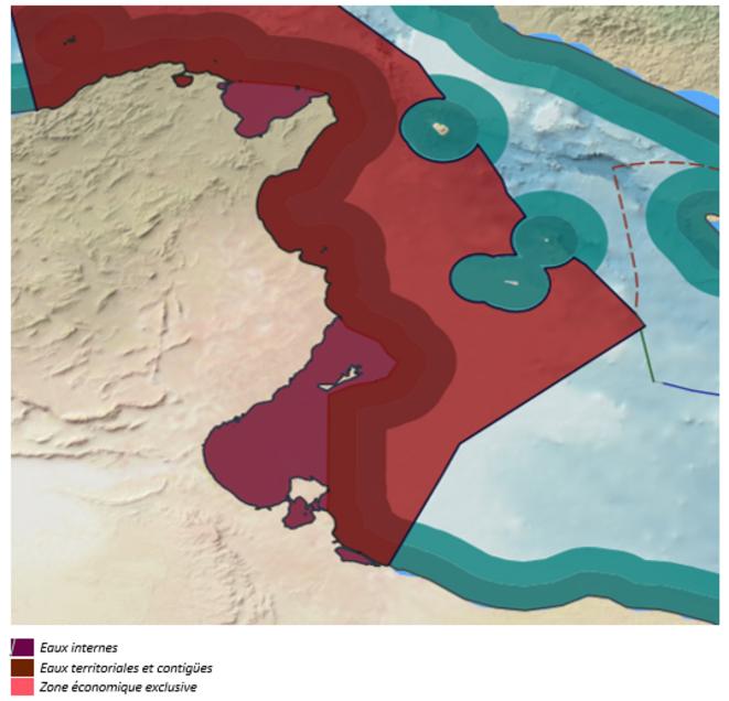 Limites des différentes zones maritimes tunisiennes [10]
