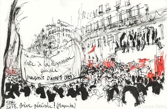 5 décembre, et ce n'est que le début, dessinée en manifestant © Laura Genz