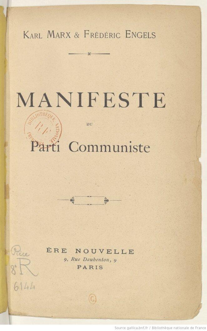 Couverture du Manifeste du parti communiste publié par les éditions Ere nouvelle, Paris, en 1895. Source: gallica.bnf.fr