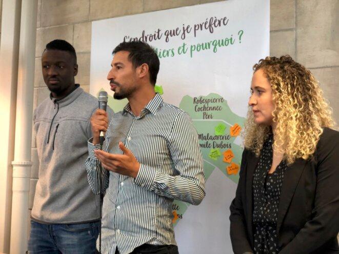 """Demba Camara, Samir Maizat et Nabila Djebbari du collectif """"100 % Auber"""". © LO"""