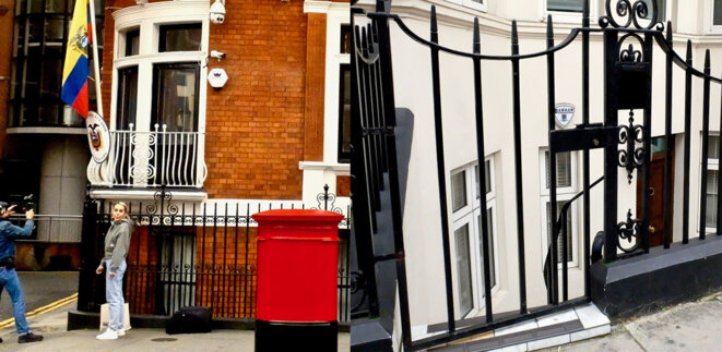 Left : Fresh red mail box. Right: basement flat, close to embassy. © BasicBlog_Collective