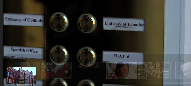 "Ecuadorian and Colombian embassy entrance in London. Few years ago. Video screenshot. ""Flat 4"" is now written instead of Spanish Office."