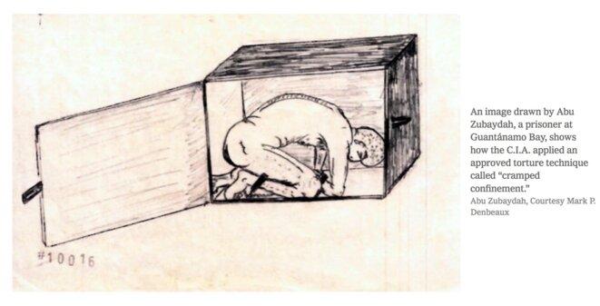 "Drawing of Abu Zubaida,  ex-Guantanamo detainee, describes ""cramped confinement"" torture techniques."