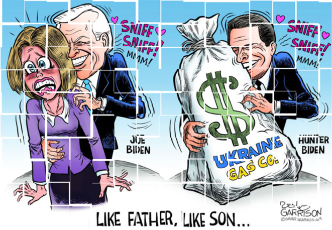 US media caricature, Joe Biden and his son Hunter Biden.