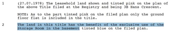Land Register London, extract of Ecuadorian Embassy leasehold, 3 Hans Crescent. © BasicBlog