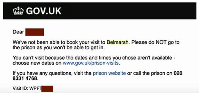 HMP Belmarsh, réponse d'une demande de visite réitérée à Julian Assange. Créneaux proposés non disponibles.