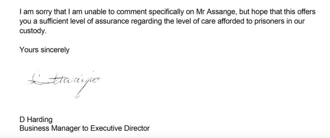 Answer from HMP Belmarsh to WJJA association letter. Nov 2019.