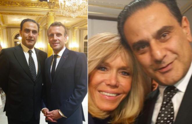 Elie Hatem avec Emmanuel et Brigitte Macron.