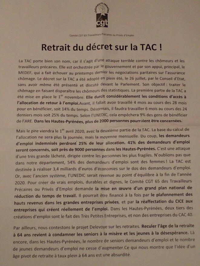 Retrait du décret sur la TAC contre les chômeurs et les travailleurs précaires © Comité CGT 65 Travailleurs Précaires ou Privés d'Emploi