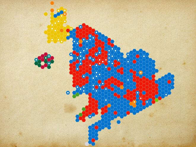 La carte des résultats par circonscriptions. © Mediapart