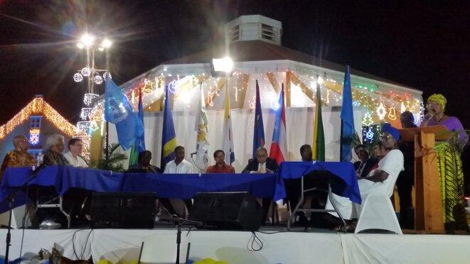 """Clôture du IVème Symposium International de  Bonaire : """" Politique Future, Droit aux Réparations et à l'Autodétermination dans la Caraïbe"""". 08.12.2019. Town Square."""