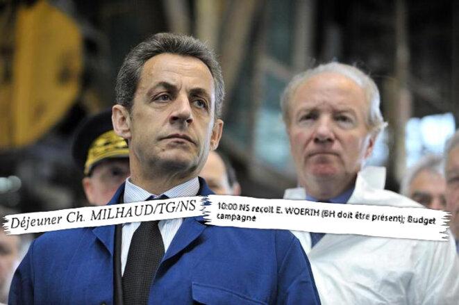Nicolas Sarkozy et Brice Hortefeux, en 2011, à Issoire. © Reuters