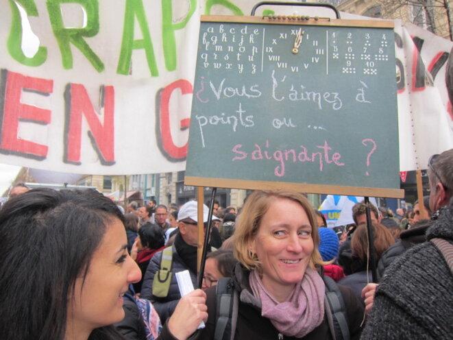 Lors de la première journée de mobilisation contre les retraites à Marseille. © Louise Fessard