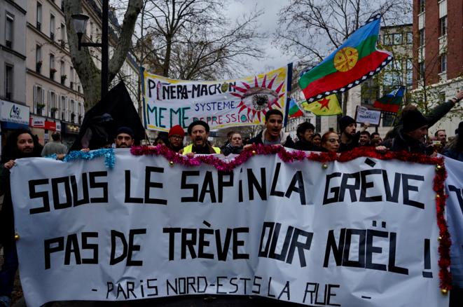 Dans le cortège parisien, le 17 décembre 2019. © Rachida El Azzouzi