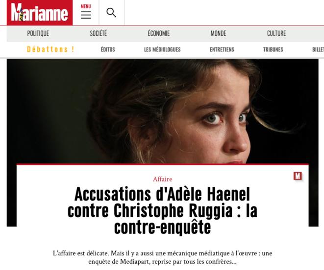 """La une du site de """"Marianne"""", le 19 décembre 2019."""