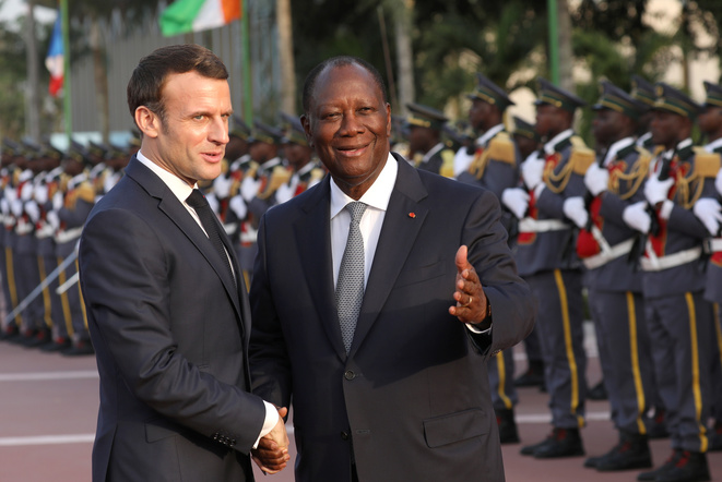 French President Emmanuel Macron with his Ivorian counterpart Alassane Ouattara in Abidjan, December 21st. © Reuters
