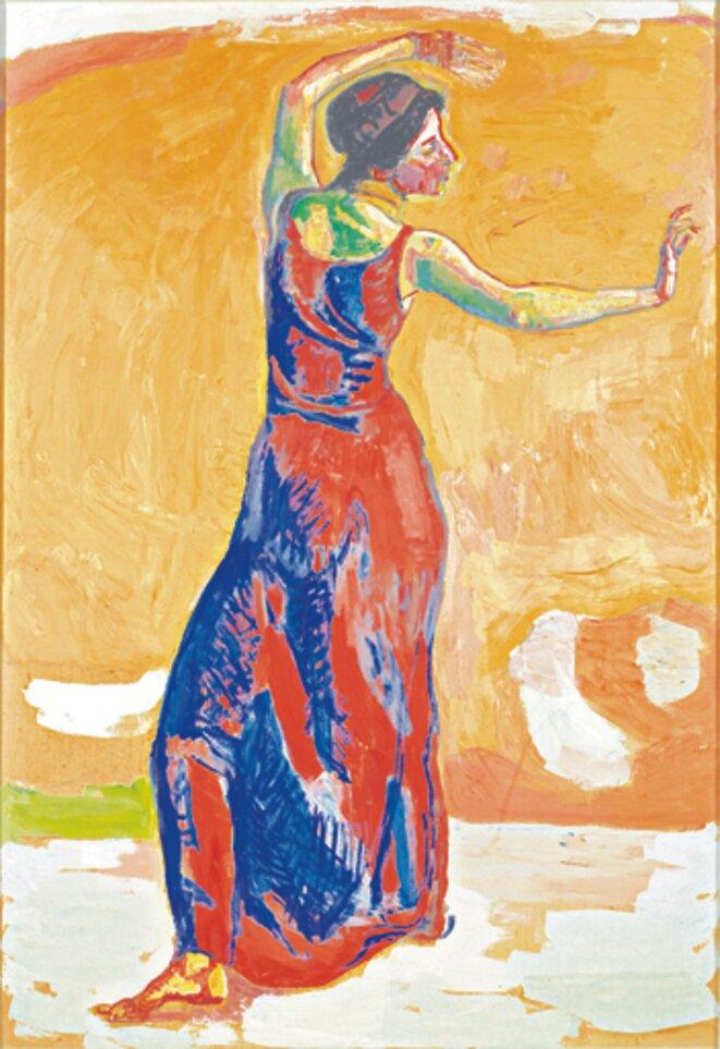 """Ferdinand Hodler, """"Femme joyeuse"""", 1912, huile sur toile, 174 x 120 cm, Vevey, Musée Jenish, donation Rudolf Schindler © Vevey, Musée Jenish"""