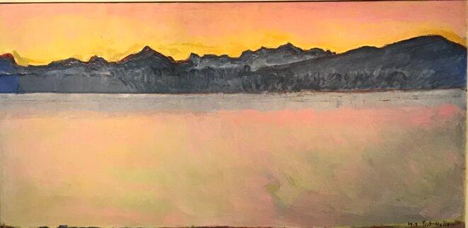 """Ferdinand Hodler, """"Le Léman et le Mont-Blanc à l'aube"""", 1918, huile sur toile, 74,5 x 150 cm, Collection privée © Archives Jura Brüschweiler, Genève"""