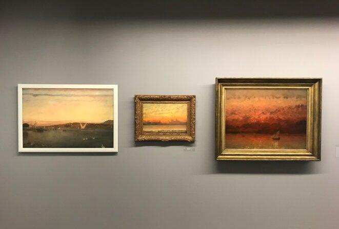 """Vue de l'exposition """"Courbet / Hodler. Une rencontre"""", Musée Courbet, Ornans, 2019 © Guillaume Lasserre"""